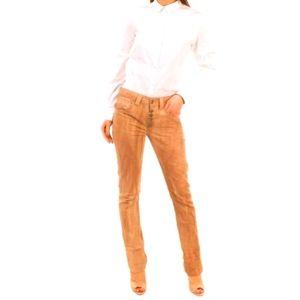 DONDUP Stonewash Button Fly High Waist Jeans Brown